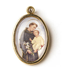 Saint Anthony golden medal with image in resin s1