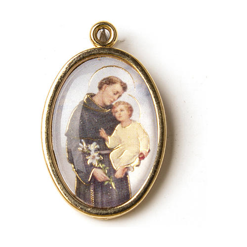 Saint Anthony golden medal with image in resin 1