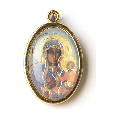 Our Lady of Czestochowa medal in golden metal with resin image 1