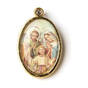 Médaille dorée avec image résinée Ste Famille s1