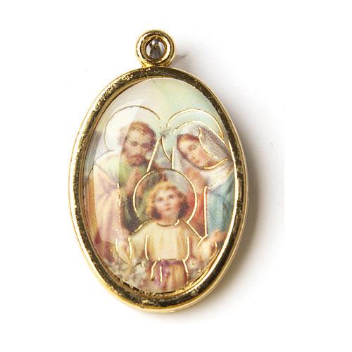 Médaille dorée avec image résinée Ste Famille 1