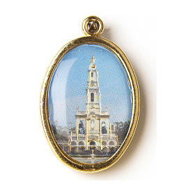 Medaglia Dorata con immagine Resinata Santuario di Fatima s1