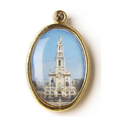 Medaglia Dorata con immagine Resinata Santuario di Fatima 1