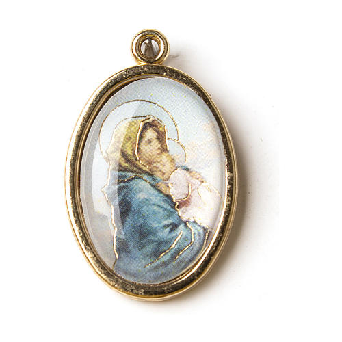 Our Lady of Ferruzzi medal in golden metal with resin image 1