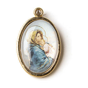 Our Lady of Ferruzzi medal in golden metal with resin image s1