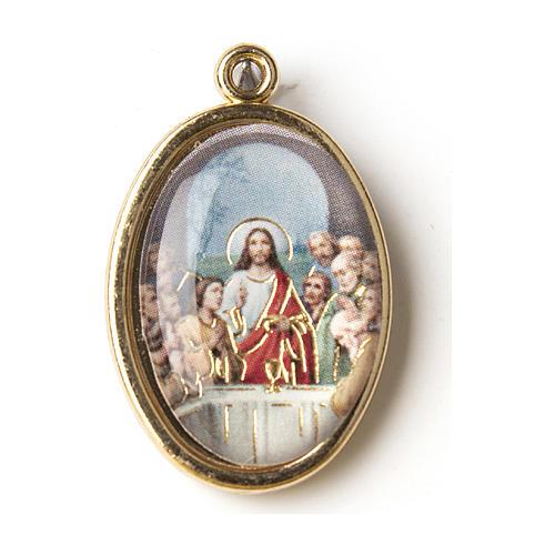 Medalla Dorada con imagen Resinada Última Cena 1