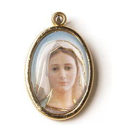 Our Lady of Medjugorje medal in golden metal with resin image s1