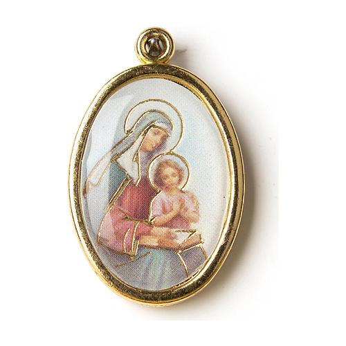 Médaille dorée image résinée Ste Anne 1