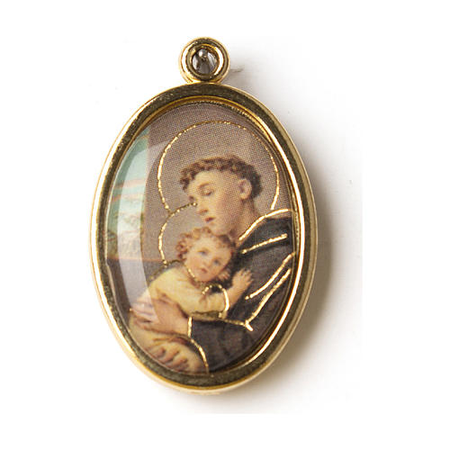 Saint Anthony golden medal with resin image 1