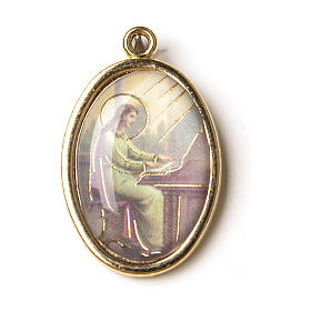 Medalla Dorada con imagen Resinada Santa Cecilia s1