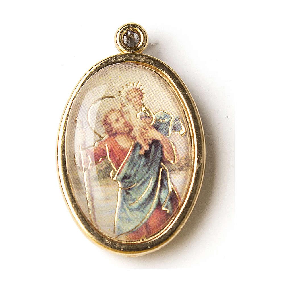 Medalla Dorada con imagen Resinada San Cristóbal 4