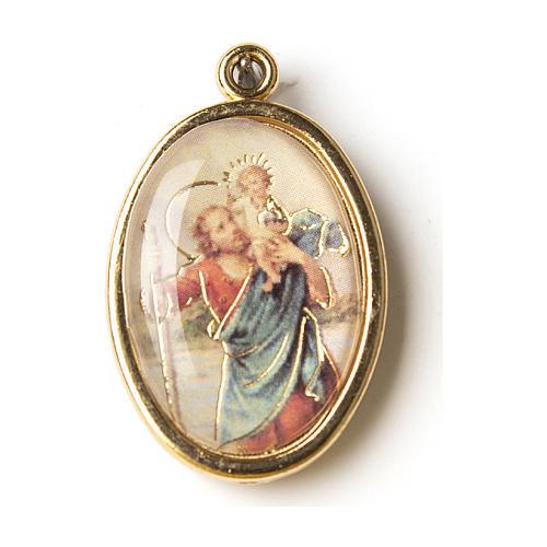 Medalla Dorada con imagen Resinada San Cristóbal 1