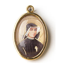 Saint Faustina golden medal with resin image s1