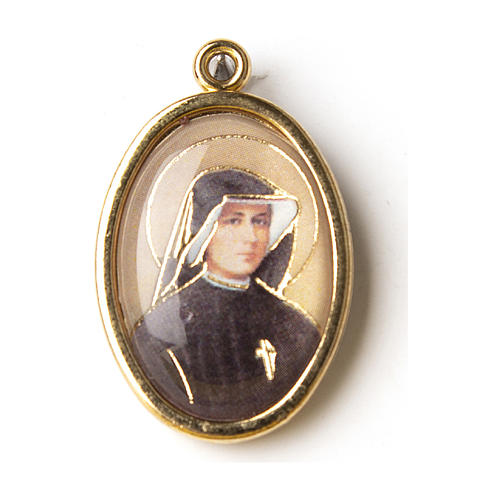Saint Faustina golden medal with resin image 1