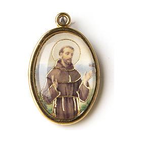 Medaglia Dorata con immagine Resinata San Francesco s1