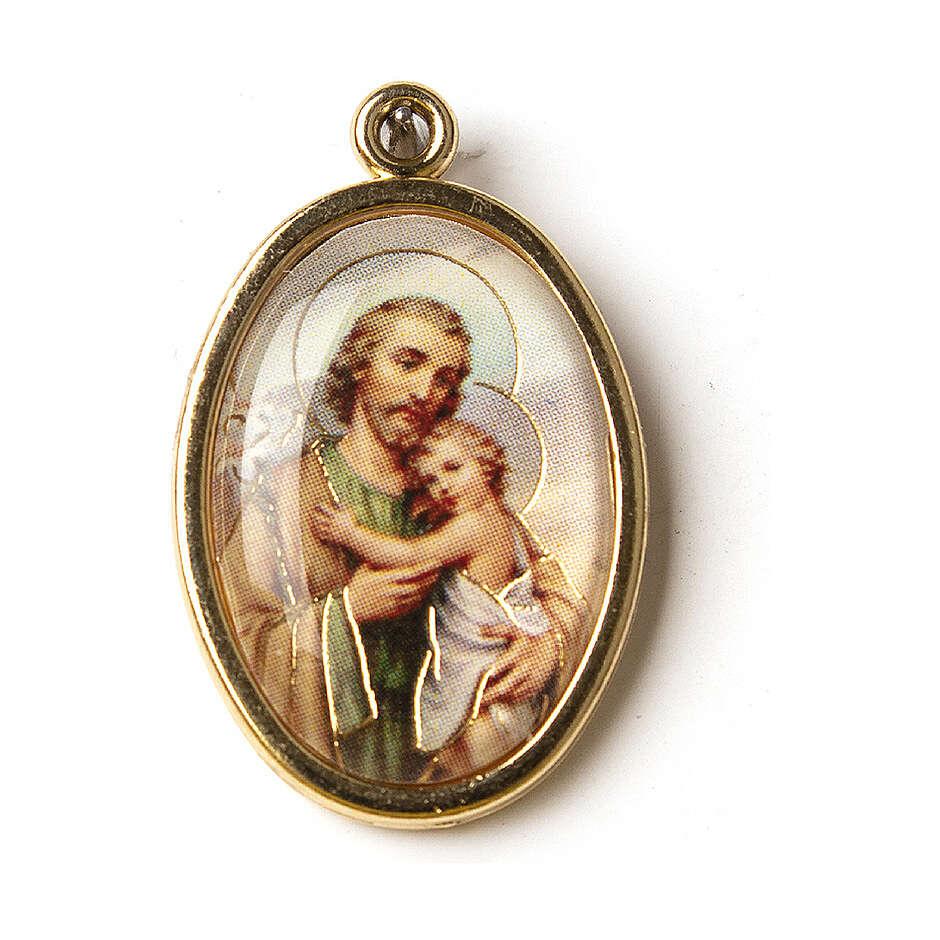 Medalha dourada com imagem resina São José 4