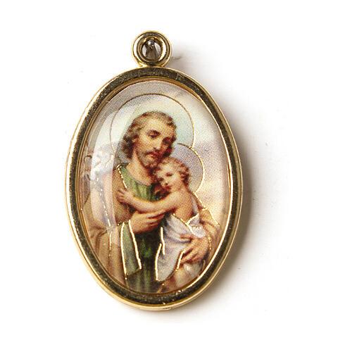Medalha dourada com imagem resina São José 1