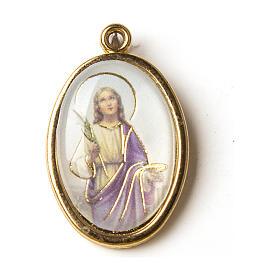 Medaglia Dorata con immagine Resinata Santa Lucia s1