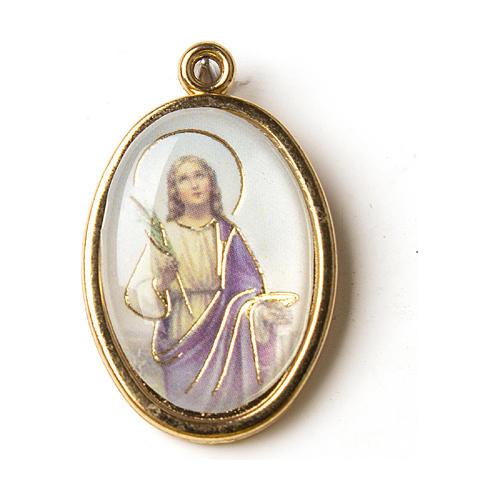 Medaglia Dorata con immagine Resinata Santa Lucia 1