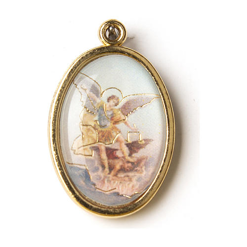 Golden medal with resin image of Saint Micheal 1