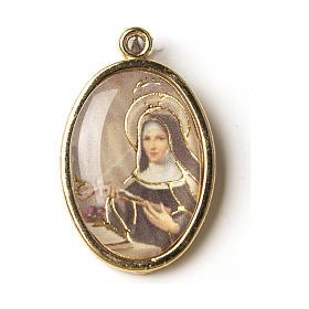 Medalla Dorada con imagen Resinada Santa Rita s1