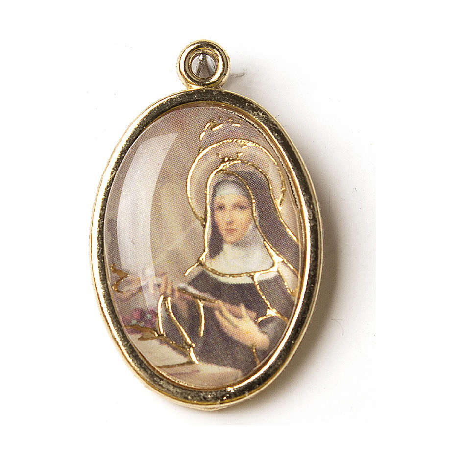 Medal in gold with resin image of Saint Rita 4
