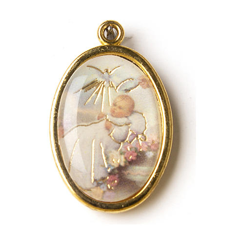 Golden oval medal with baptism classical image 1