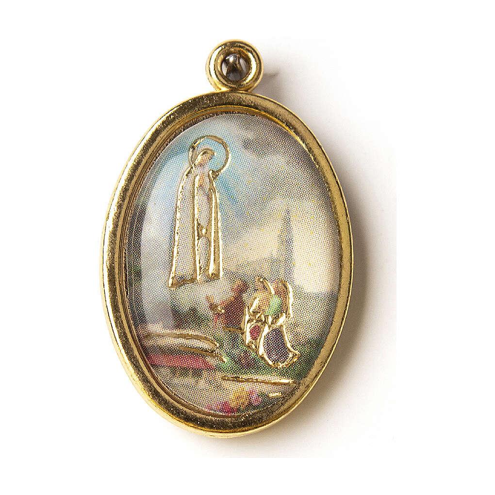Medalha dourada com imagem Nossa Senhora de Fátima resina 4