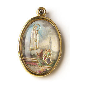 Our Lady of Fatima golden medal with image in resin s1