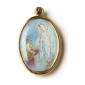 Medalla Dorada con imagen Resinada Nuestra Señora de Lourdes s1