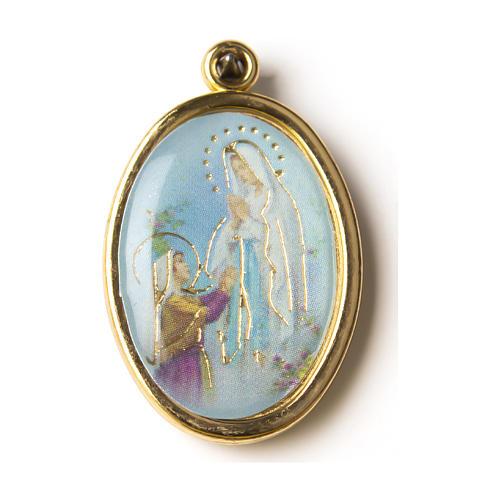 Médaille dorée image résinée N.D. de Lourdes 1