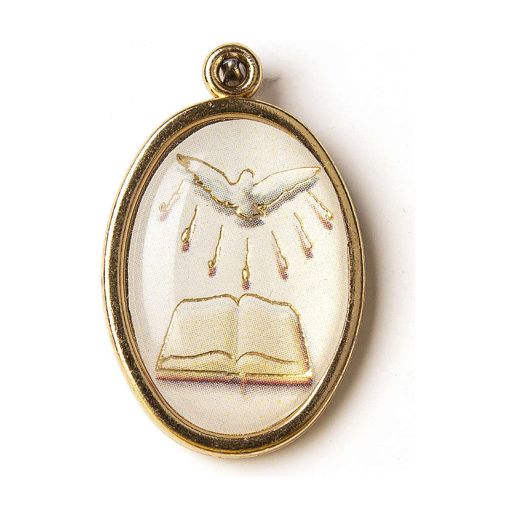 The Gifts of the Holy Spirit golden medal with image in resin 4