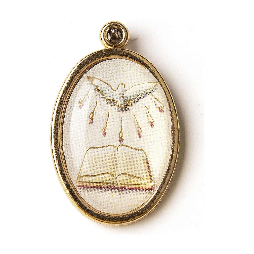 Medalla Dorada con imagen Resinada Confirmación Espíritu Santo Libro 4