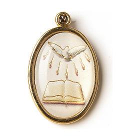 Médaille dorée image résinée Confirmation St Esprit Livre s1