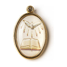 Medalik pozłacany z wizerunkiem z masy żywicznej Bierzmowanie Duch Święty Księga s1