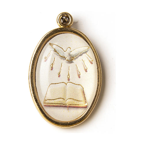 The Gifts of the Holy Spirit golden medal with image in resin 1