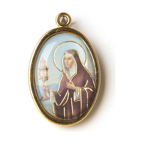 Medaglia Dorata con immagine Resinata Santa Chiara 1