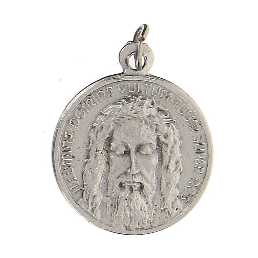 Medaglia con volto di Gesù con incisione in latino 1,5 cm 4