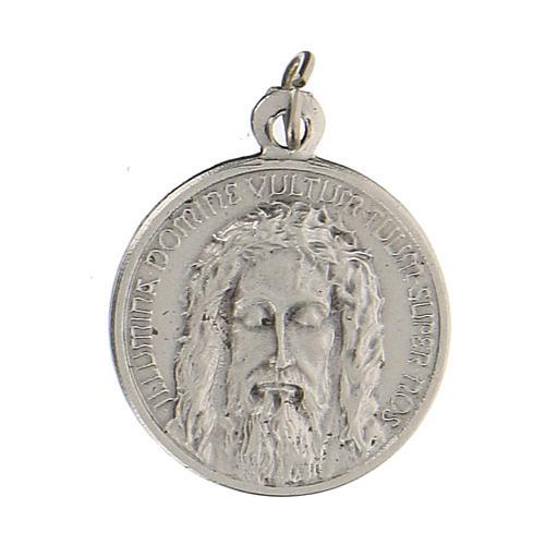 Medaglia con volto di Gesù con incisione in latino 1,5 cm 1