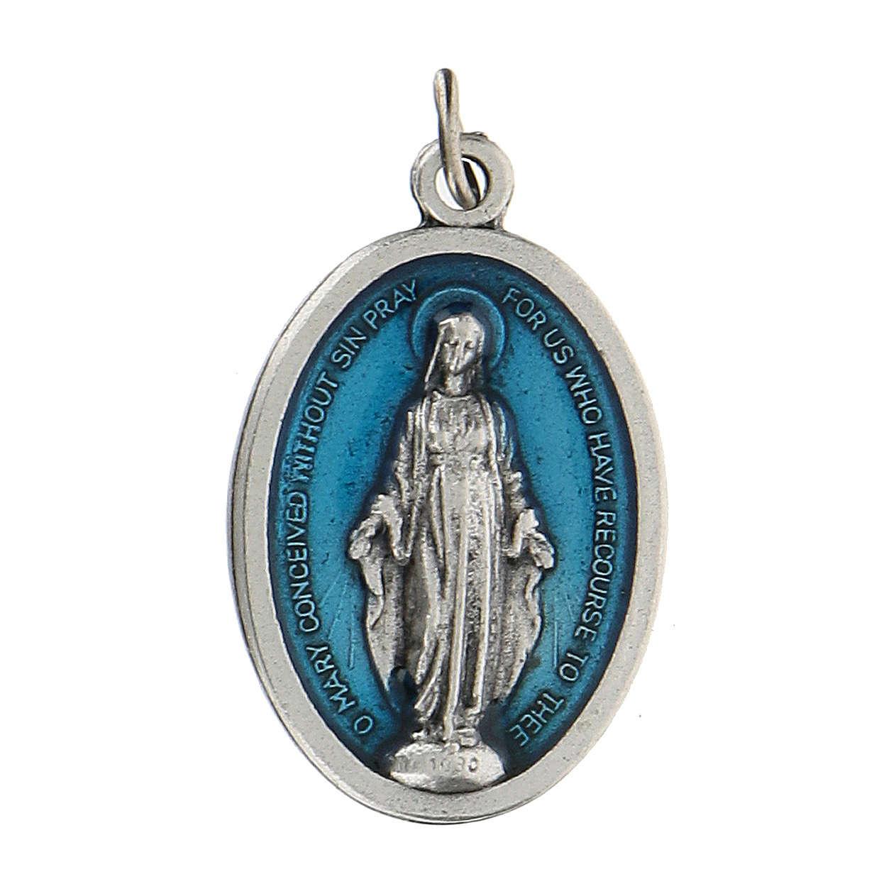Medalla milagrosa en relieve con esmalte azul 2,5 zamak 4
