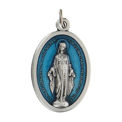 Medalla milagrosa en relieve con esmalte azul 2,5 zamak