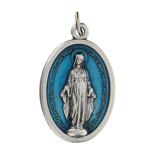 Medaglia miracolosa in rilievo con smalto azzurro 2,5 zama 1