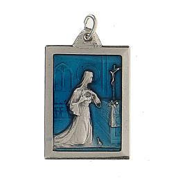 Medalla rectangular Santa Rita protégeme esmalte 2,5 cm s1
