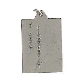 Medalla rectangular Santa Rita protégeme esmalte 2,5 cm s2