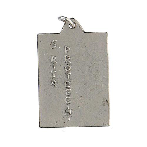 Medalla rectangular Santa Rita protégeme esmalte 2,5 cm 2