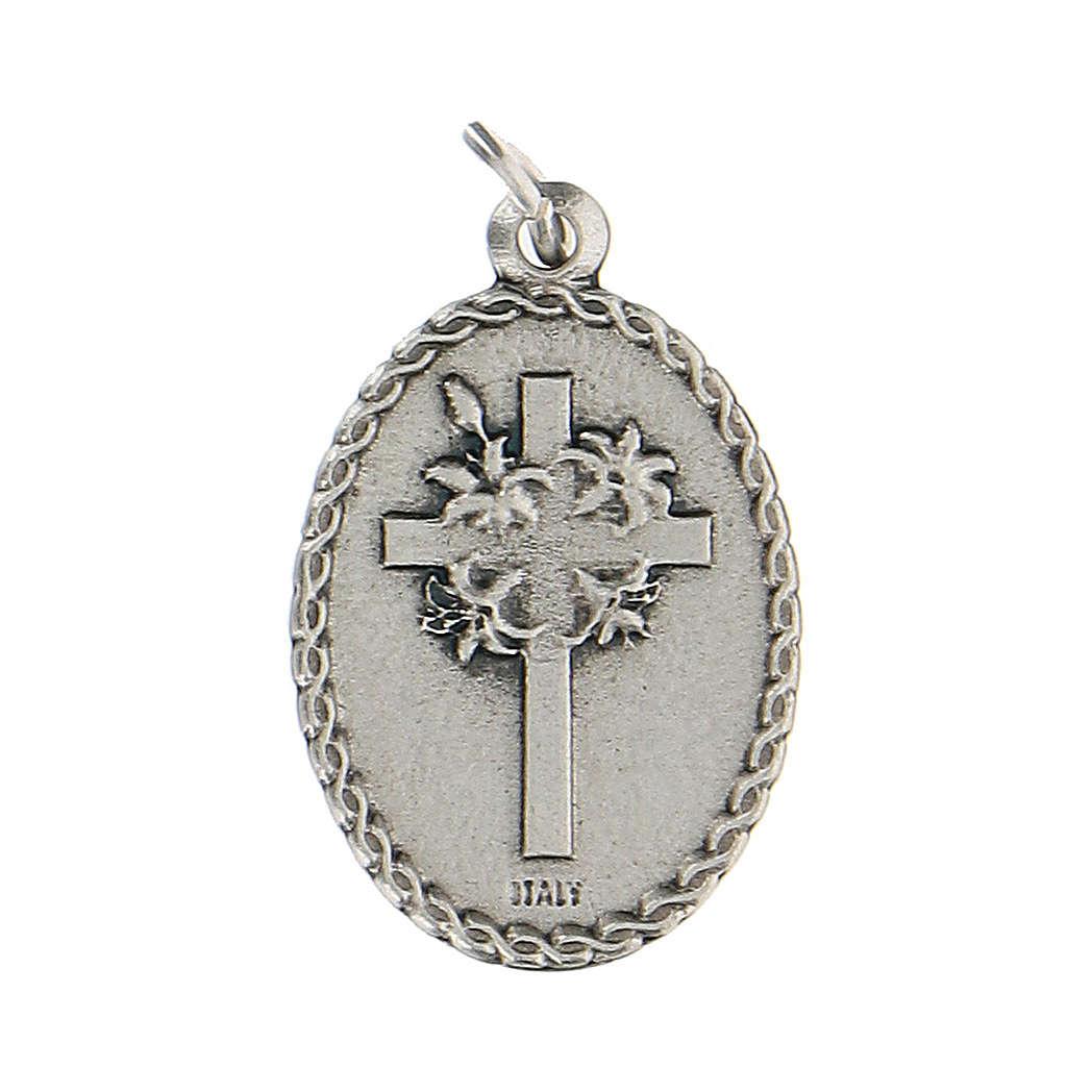 Medalla ovalada esmaltada con Padre Pío 2,5 cm zamak 4