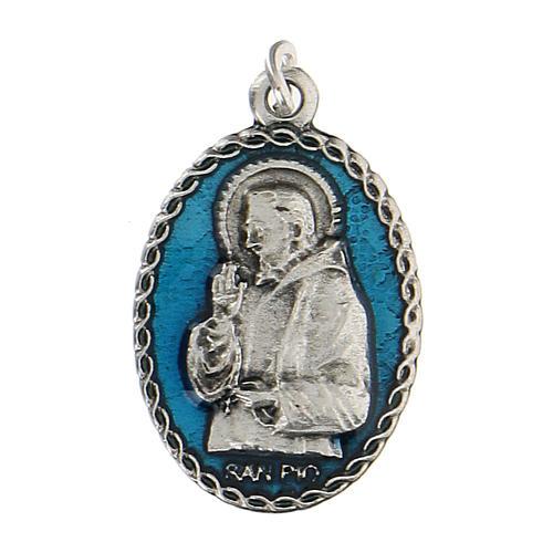 Medaglietta ovale smaltata con Padre Pio 2,5 cm zama 1