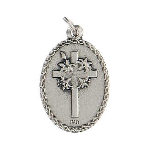 Medaglietta ovale smaltata con Padre Pio 2,5 cm zama 2