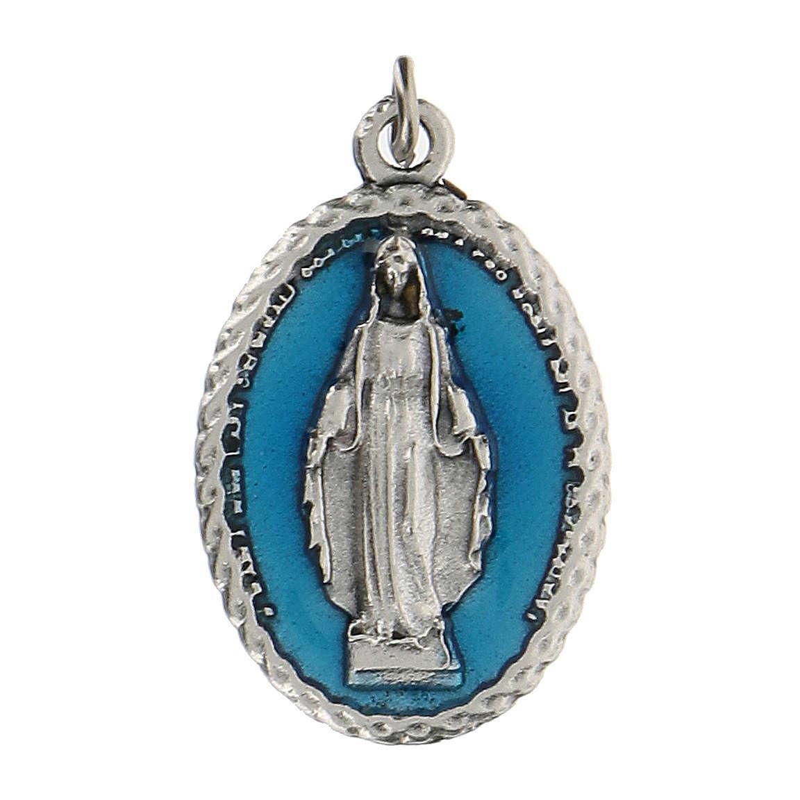 Medalla ovalada esmalte azul Virgen Milagrosa 2,5 cm zamak 4