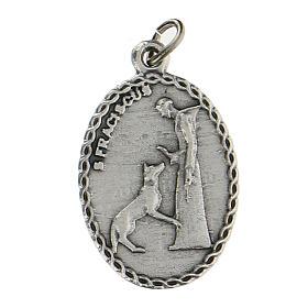 Medalla ovalada con San Francisco de Asís y el lobo 2,5 cm s1